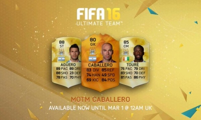 psfifacoins:Manchester City's Willy Caballero gets FIFA 16 MOTM card