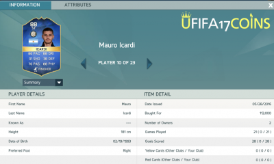 Seen a lot of love for TOTS Icardi on the UFIFA17Coins