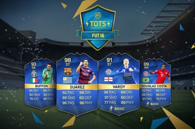psfifacoins:Last main FIFA 16 TOTS sees return of Vardy and Kane, 99 Ronaldo