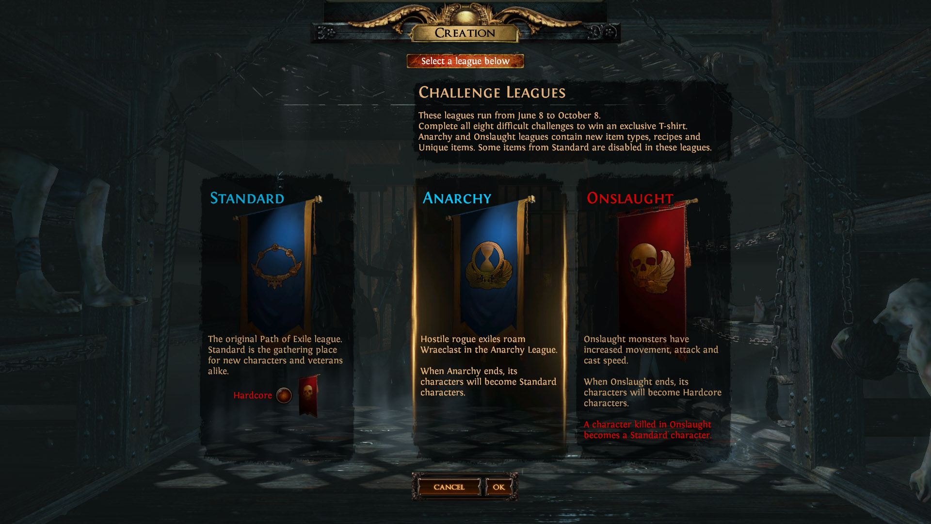The way to Select Path of exile Unique Leagues