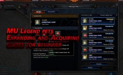 mu legend pets expanding and acquiring guides for beginner