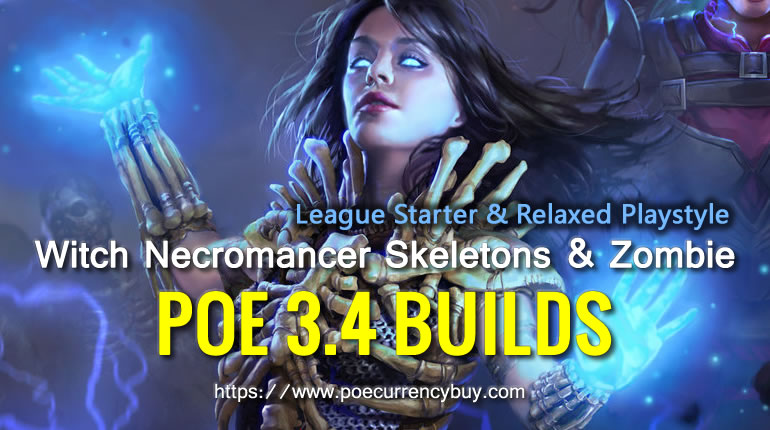 POE 3.4 Witch Necromancer Skeletons & Zombie Build - League Starter & Relaxed Playstyle