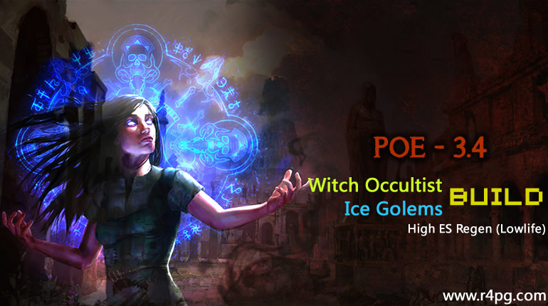 POE 3.4 Witch Occultist Ice Golems Build - High ES Regen (Lowlife)