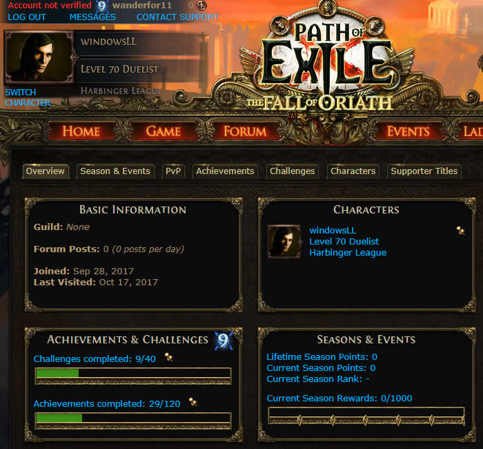 Path of Exile SC Duelist 70Lvl Account