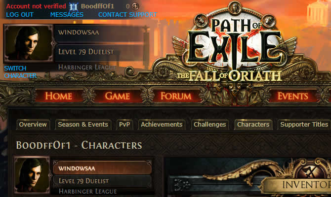 Path of Exile SC Duelist 79LVL Account
