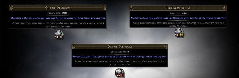 Path of Exile Delirium Orbs of Delirium