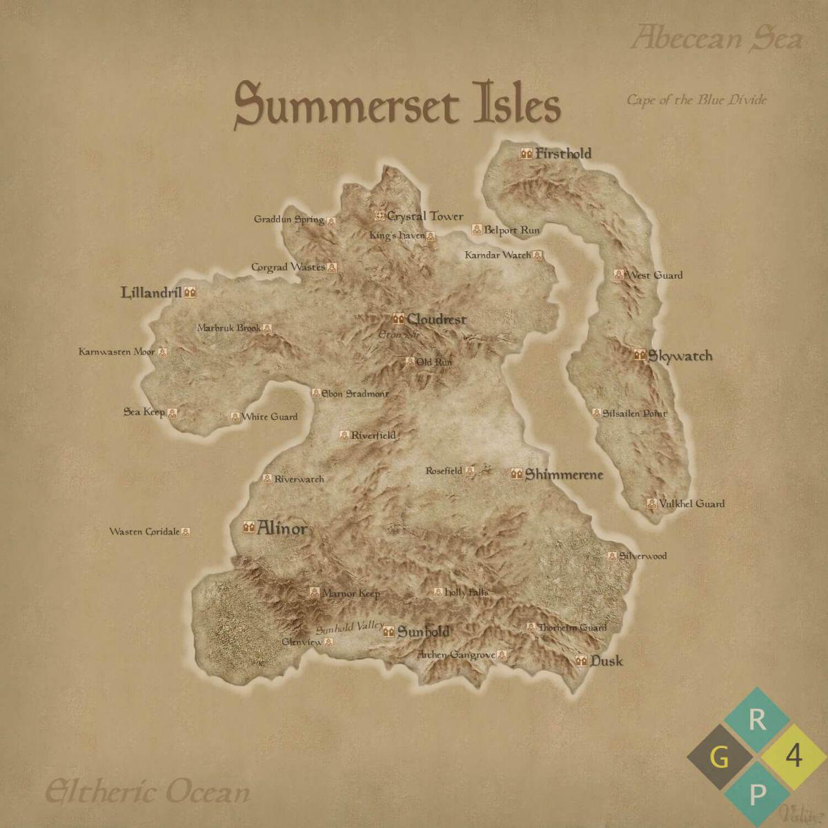 The Elder Scrolls Online Map Of Summerset Isles Expansion - r4pg com