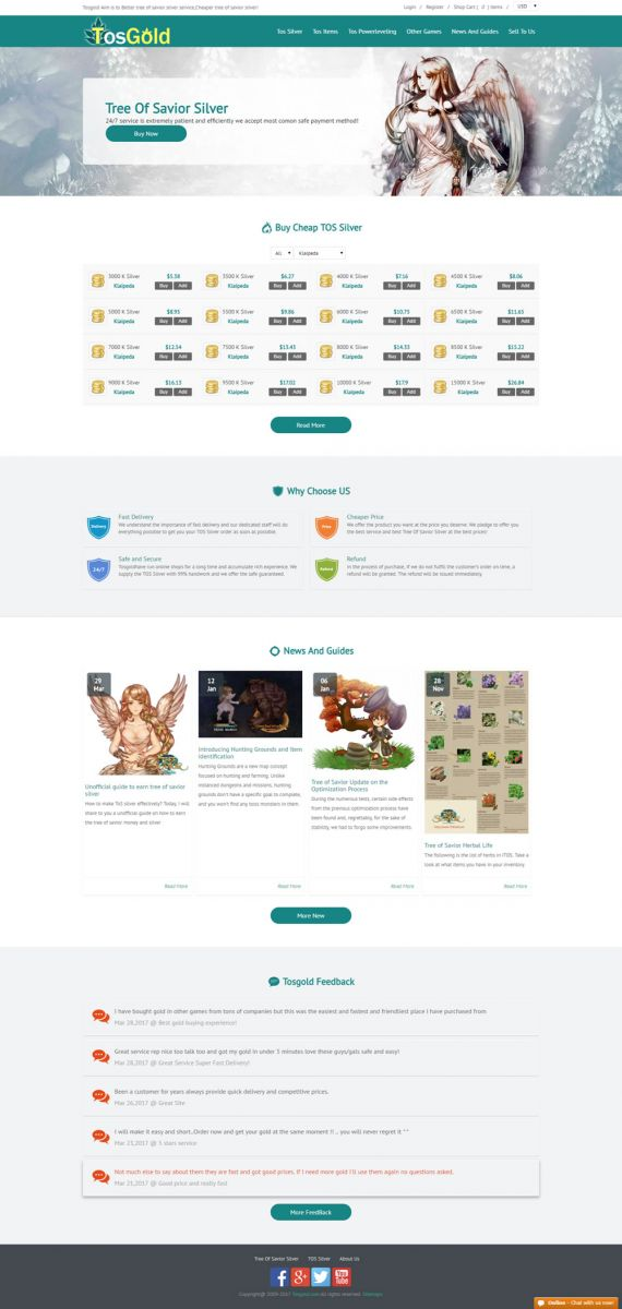 Tosgold homepage