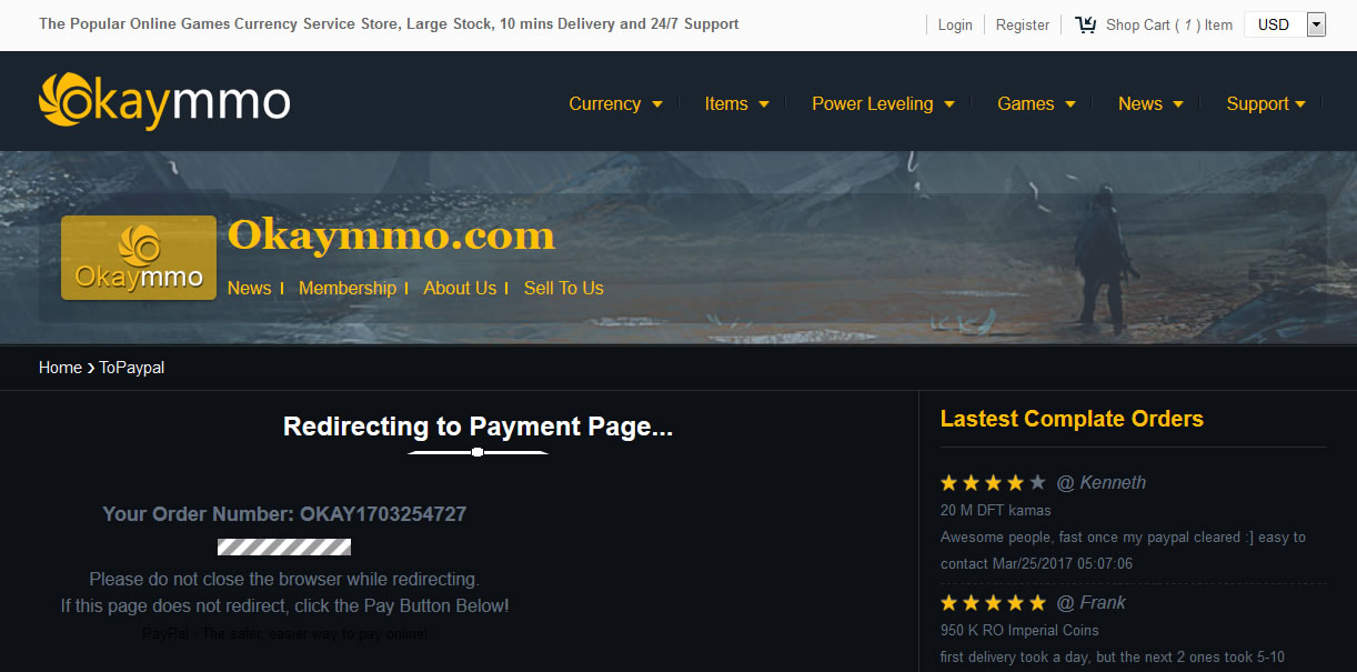 save your okaymmo order number