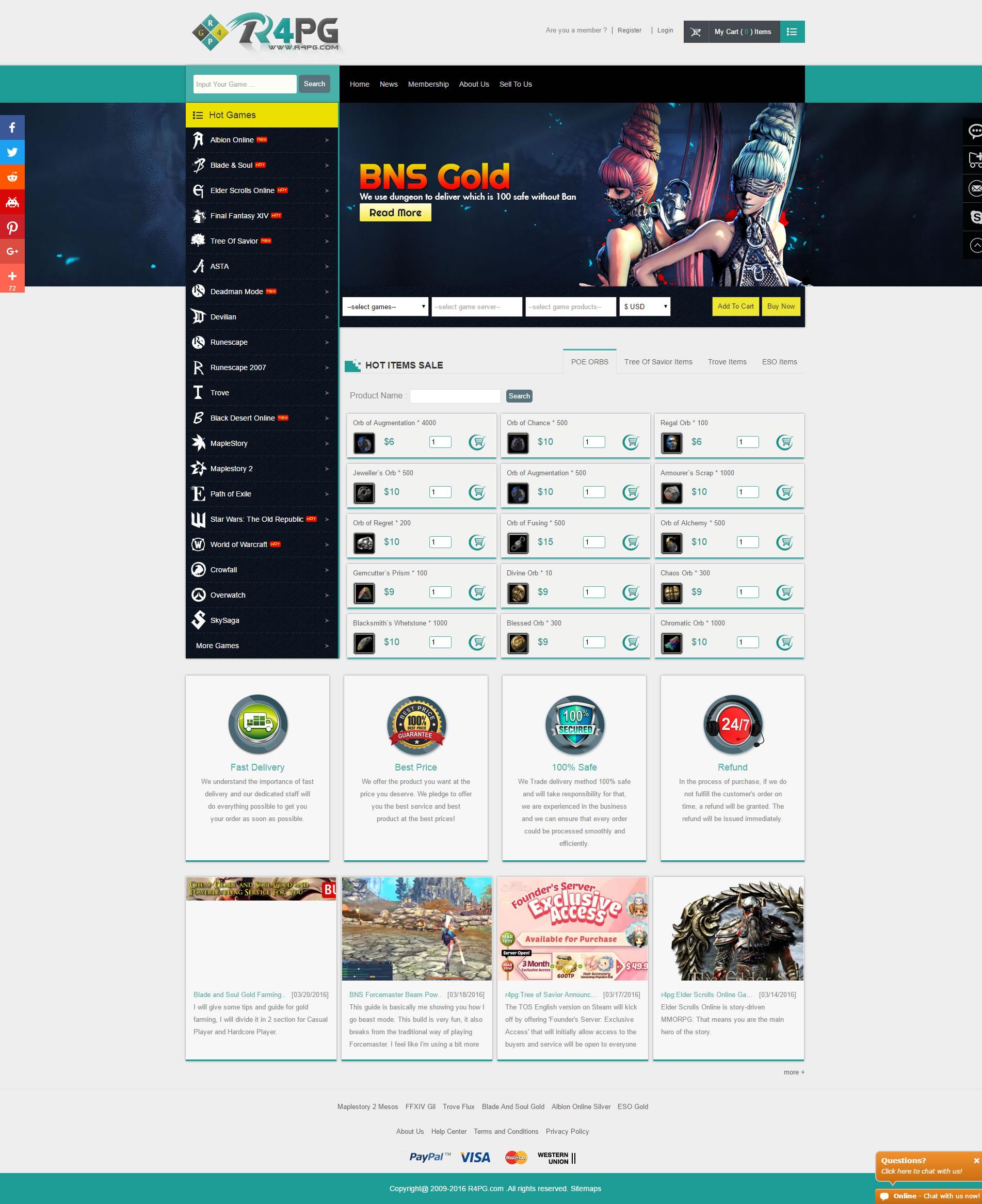 R4PG Online Gamer Store New Desgin