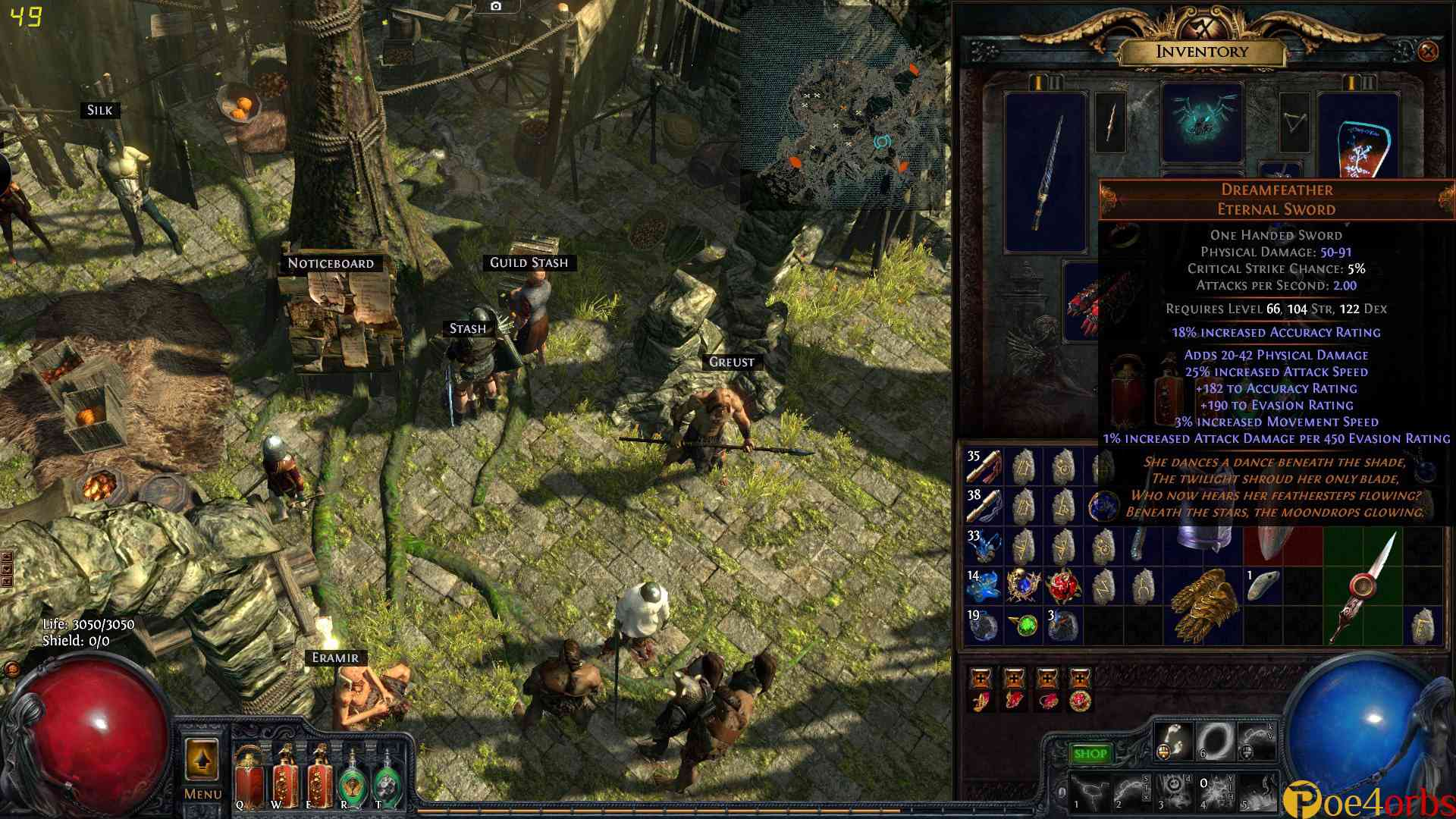 In Path of Exile you have two different resources that keep you from dying
