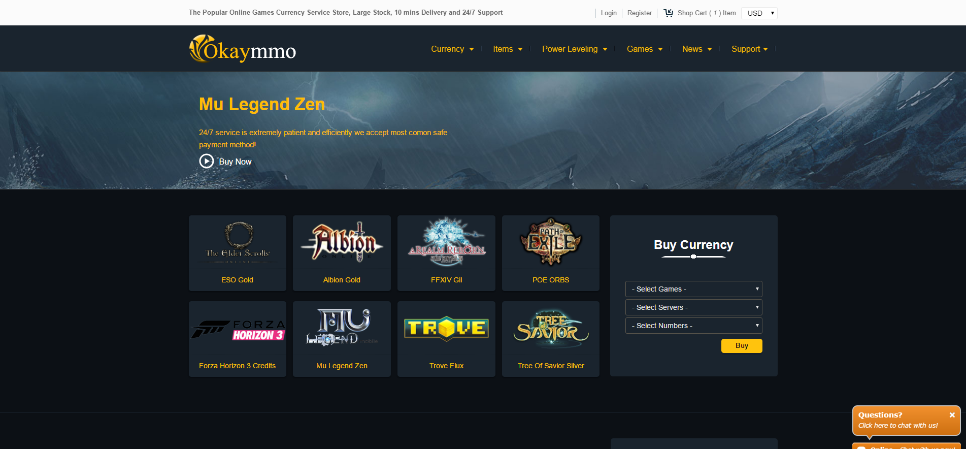 Popular Online Games Currency Service Store - OkayMMO