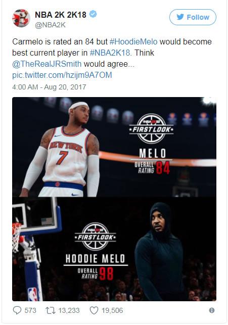 Carmelo Anthony NBA 2K18 Rating Revealed