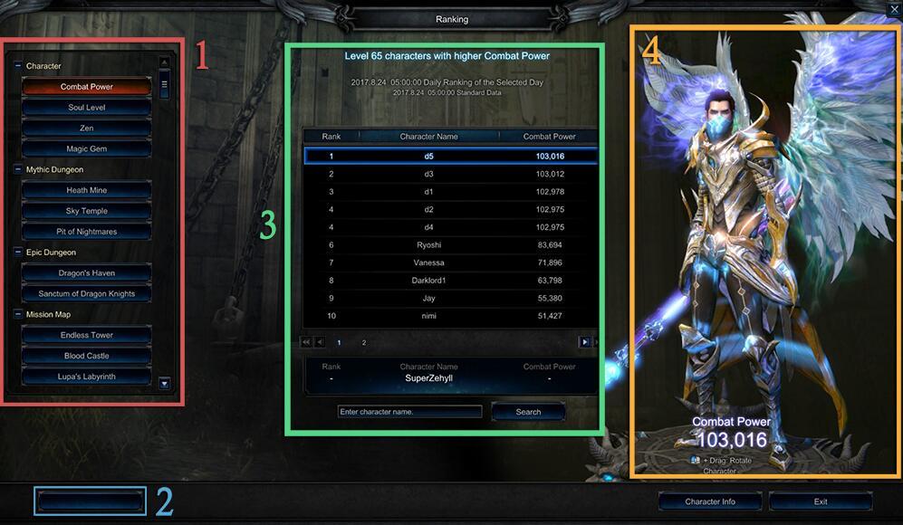 MU Legend Ranking System Information