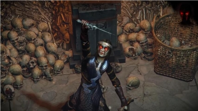 Eyes Helmet Effect, Devil Horns and Spiderweb Cloak In Path of exile Halloween