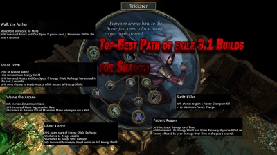 Top-Best Path of exile 3.1 Builds for Shadow
