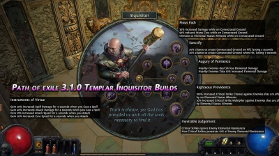 Path of exile 3.1.0 Templar Inquisitor Builds