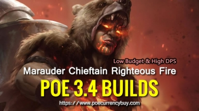 POE 3.4 Marauder Chieftain Righteous Fire Build - Low Budget & High DPS