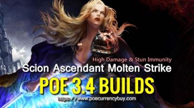 POE 3.4 Scion Ascendant Molten Strike Build - High Damage & Stun Immunity