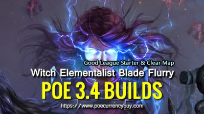 POE 3.4 Witch Elementalist Blade Flurry Build - Good League Starter & Clear Map