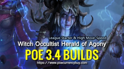 POE 3.4 Witch Occultist Herald of Agony Build - League Starter & High Move-Speed