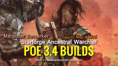 POE 3.4 Marauder Berserker Starforge Ancestral Warchief Build - Easy to map & mod