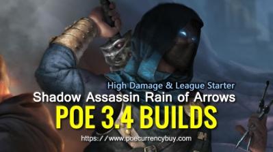 POE 3.4 Shadow Assassin Rain of Arrows Build - High Damage & League Starter