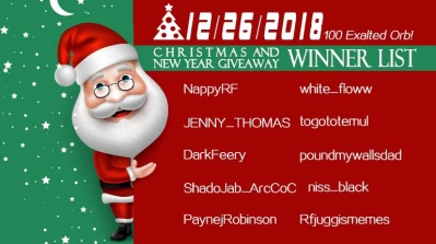 12/26/2018 Christmas and New Year Giveaway Winner List