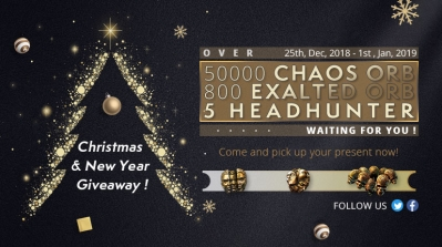 Christmas and New Year Gift! FREE PoE Currency! 800EX, 50000C, 5 Headhunters!