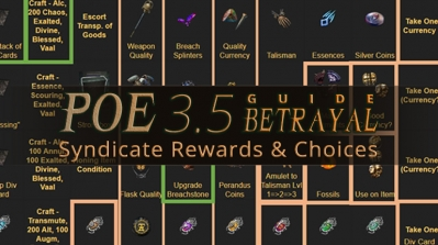 POE 3.5 Betrayal Guide - Syndicate Rewards and Choices