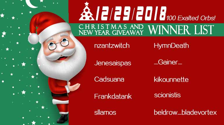 12/29/2018 Christmas and New Year Giveaway Winner List