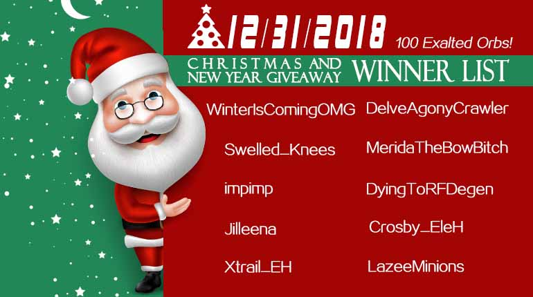 12/31/2018 Christmas and New Year Giveaway Winner List
