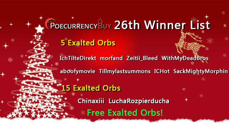 12/26/2019 Christmas Free Exalt Chaos Winner !