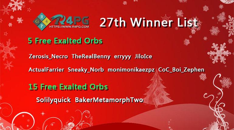12/27/2019 Christmas Exalt Chaos Prize Winner !
