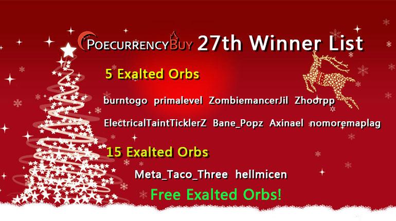12/27/2019 Christmas Free Exalt Chaos Winner !