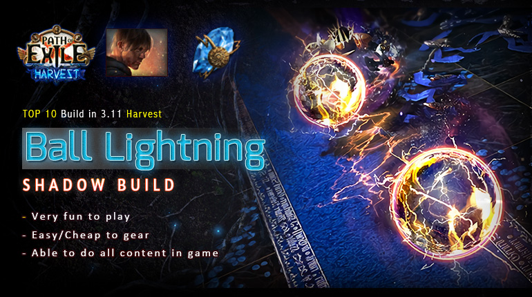 [Harvest] PoE 3.11 Shadow Ball Lightning Saboteur Easy Build (PC,PS4,Xbox,Mobile)
