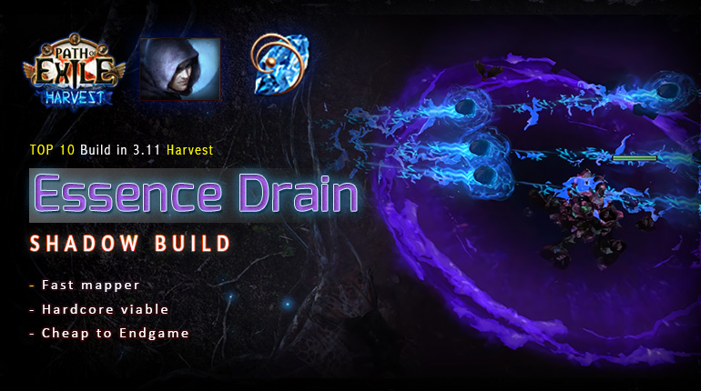 [Harvest] PoE 3.11 Shadow Essence Drain Trickster Starter Build (PC,PS4,Xbox,Mobile)