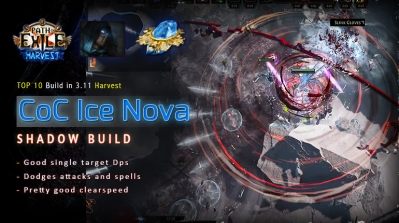 [Harvest] PoE 3.11 Shadow CoC Ice Nova Assassin Fast Mapping Build
